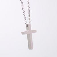 freies keltisches kreuz großhandel-Hochglanz poliertes Silber Religiöses Kreuz Symbol Anhänger Halskette mit Kette 24 Zoll für Männer woemn
