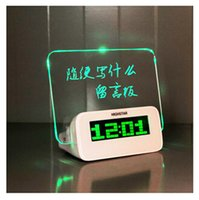 Wholesale Color Change Digital Table Clock - Christmas Gift Fluorescent Message Board Clock Alarm Temperature Calendar Timer LED Digital Desktop Director Table Clocks with retail box