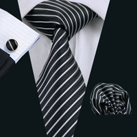 Wholesale Hot Pink Neck Tie - Formal Work Business Police Security Personnel Black White Stripe Tie Set Hanky Cufflinks Jacquard Woven Hot Selling Neck Tie Set N-0394