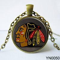 Wholesale Nhl Necklaces - Wholesale-Chicago Blackhawks NHL Hockey necklace pendant necklace art picture chain necklace Choker Necklace gift for hockey fans