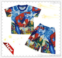Wholesale Spider Man Clothing Cheap - New cheap Spider Man Blue Ben 10 Summer Boys Carton Short Sleeve top+Shorts pants Cotton Suits Outfit Kids' Clothing MOQ 1 suits 918 3
