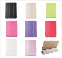 Wholesale Ipad Case Hard Flip - 3 Fold Silk Patten Slim Flip Smart Case Cover Transparent Back Hard PC For iPad 2 3 4 5 5 Air Air2 Mini Mini2 Mini3 With Sleep Wake Stand