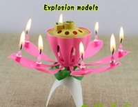 vela de bolo de flor de lótus venda por atacado-40 pcs flor de lótus música vela linda flor flor de lótus vela festa de aniversário bolo música faísca bolo topper frete grátis