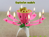 Wholesale Cake Topper Shipping - 40pcs Lotus Flower Music Candle Beautiful Blossom Lotus Flower Candle Birthday Party Cake Music Sparkle Cake Topper Free Shipping