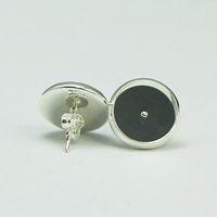 ingrosso orecchini basi vassoi vuoti-Base per orecchini a perno Beadsnice in argento placcato coler orecchini a bottone rotondo orecchino vuoto con castoni a forma di cabochon 12 mm o resina ID 8266