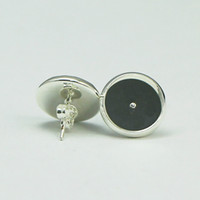 basis für ohrringe groihandel-Beadsnice stud earring base in silver plated coler round stud earring blank bezel earring trays fit 12mm cabochons or resin ID 8266