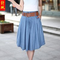 Wholesale Denim Skirts For Women - Wholesale-2015 hot sale summer casual denim skirts for women knee length skirt jeans plus size pleated blue skirt in Europe and America