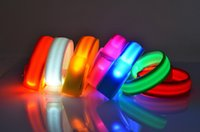 Wholesale Silicone Led Light Set - LED Flashing Wristbands Cycling Safety Bracelets Lights Flashing Glow Wristbands Outdoor Sports Luminous Reflective Lattice Armbands