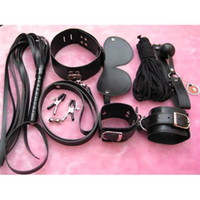 Wholesale Sex Products Blindfold - New Arrival Corium Leather Sex Toys Sex products for Couple Whips Handcuffs Blindfolds Nipple Clamp Collar Cotton Rope Racket 8 Pieces Unit