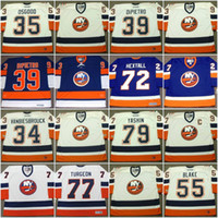 Wholesale Wade Vintage - New York Islanders Jersey 34 JOHN VANBIESBROUCK 2000 34 WADE DUBIELEWICZ 35 CHRIS OSGOOD 39 RICK DiPIETRO Vintage Throwback Hockey Jerseys
