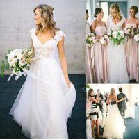 Wholesale Lace Vintage Wedding Dress Affordable - 2017 New Bohemian A Line Wedding Dresses Affordable 2016 Lace Short Cap Sleeve V Neck Open Backless White Ivory Tulle Beach Garden