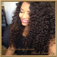 Wholesale kinky big hair wig - Free Ship 7A Grade Kinky Curly Full Lace Wig 1#,1b,2#,4#,Natural Color 100% Mongolian Virgin Hair Front Lace wig 130% density with baby hair