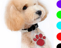 Wholesale Large Pet Id Tags - Wholwsale High Quality 6 Color L Size Footprint Type Pet Dog Cat Tag ID Pet Pendant Dog Accessory Hotsale Fit Pet Collar 50PCS LOT