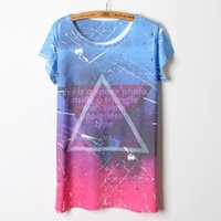 Wholesale Tee Shirt Triangle Galaxy - High Quality 2015 New summer european style women tops galaxy star geometric triangle printing women t shirt o-neck tee shirts
