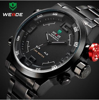 Wholesale Gold Weide - WEIDE men's analog digital watch, dual display LED sports relogio waterproof swim wristwatch, led military watch, gift watch for men boy
