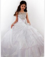 Wholesale Christmas Time Wedding Dresses - 2015 Newest Style Crystal Party Time Perfect Angels Girls Pageant Dresses Tulle Bateau Neck Tank Formal Occasion Flower Girls Ball Gowns