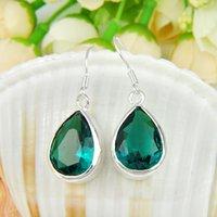 Wholesale Earring London - Bulk 3 Pairs   Lot Newest Valentine Drop London Blue Topaz Gemstone 925 Sterling Silver Drop Wedding Earrings