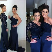Wholesale Cheap One Sleeve Wedding Dresses - Dark Navy Bridesmaids Formal Dresses Mermaid Illusion One Sleeve Bridesmaid Gowns Custom Made Dress for Wedding Cheap High Quality