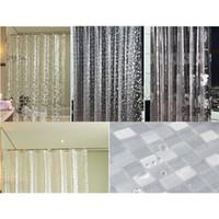 Wholesale Peva Curtain - PEVA 3D Chrysanthemum Pebble Mosaics Pattern Translucence Waterproof Shower Curtains 3D Curtains Bathroom Products 180 * 180CM
