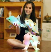 2017 quente Luminous Luminous Plush Dolphin Doll Glowing LED Light Peluches Animal Toys Colorful Doll Pillows Kids Children's Gift