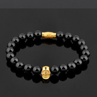 Wholesale Tiger Eye Bracelet For Women - BC Jewelry New Fashion 8MM Beaded Black Natural Stone beads Skull Elastic Bracelets for Men and Women Tiger Eye Bracelets BC-079