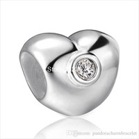 Wholesale Antique Sterling Charms - Authentic Love Heart Design 925 Sterling Silver European Bead Charm Antique Fashion Jewelry For Snake Bracelet Chain Wholesale