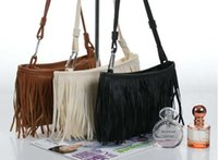Wholesale Womens Fringe Tassel Brown Handbag - Fashion Handbags Shoulder Bag Womens PU Leather Fringe Bag With Removable Shoulder Straps 3 color South Korean Style Handbags