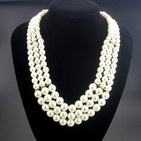 Wholesale Layers Rows - DHL Free Shipping Wholesale Christmas Gifts Summer Style Pearl Jewelry New Fashion 3 Row Multi Layer Pearls Statement Necklace for Women