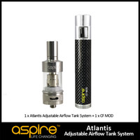 1pc Aspire Atlantis Airflow Регулируемая замена BVC Coil RDA Atomizer с 1pc Aspire CF MOD Battery E Cigarettes Бесплатная доставка