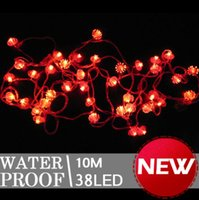 Wholesale Red Chinese String Lights - Wholesale-10m 38 Chinese Red Lantern LED String Light for Home Party Hotel Decoration L167
