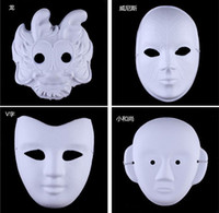 Wholesale white pulp mask - White Half Face Mask Halloween blank paper ball Hand painted Mask DIY pulp Hip-Hop mask Hand-painted masks street dancing Christmas gifts
