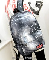 Wholesale Travel Bags British Flag - Wholesale-2015 Fashion Women Star Universe Space Printing School bags Canvas Backpacks Casual British flag Rucksack Travel Bags