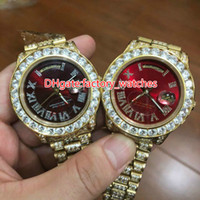Wholesale Hip Hop Big Face Watches - Luxury Mens Brand Watch Big diamonds bezel big size 40mm wrist watch hip hop rappers full iced out gold case red face dial automatic watch