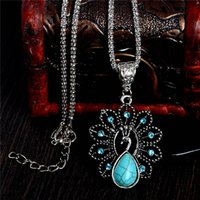 Wholesale Necklace Peacock Free Shipping - Free Shipping Fashion Ladies Charming Lovely Peacock Turquoise Stone Pendant Necklace chain Jewelry
