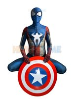 Wholesale Full Captain America Costume - Captain America and Spider-Man Hybrid costume the newest Superhero Costume Morph Suit Spider Captain America cosplay costume free shipping