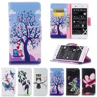 Wholesale Flip Paint - Case For Sony Xperia XA1 Plus XZS XZ Premium XZ1 Compact Z6 Animal Owl Flower Painted Stand Style Flip Leather Case Cover Wallet Card Holder