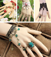 Wholesale Gothic Rings Chain - Elegant Lace Lady Bridal Accessories Wedding Party Gothic Ring Bracelet Cuffs Bangle Bridal Jewelry Christmas Gift