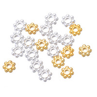 Wholesale 14k Gold Beads 4mm - wholesale 5000 x 4mm Silver & gold Plated Daisy Spacer Beads Jewellery metal beads free shipping
