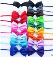 Wholesale female neck ties - 100pcs lot Dog Neck Tie Dog Bow Tie Cat Tie Supplies Pet Headdress adjustable bow tie(16 color mix)