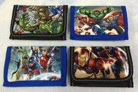 Wholesale Marvel Cartoon Characters - 50pcs Free Shipping Marvel The Avengers Iron man kid's Purse coin Wallet bags w zip new