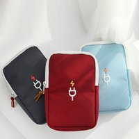 Wholesale Square Usb Color - Wholesale- Cubic style Oxford cloth Accessories Travel Carrying Organizer Case Storage Bag For Various USB Cable 3 color
