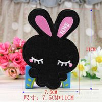 Wholesale Cheap Iron Appliques - Rabbit Patch Iron On Cartoon Patches DIY Applique Cheap Cute Embroidery Patches For Clothing Free Shipping LY