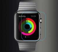 explosionsgeschützte displayschutzfolien großhandel-Für apple watch iwatch gehärtetes glas displayschutzfolie explosionsgeschützt ultradünne 2.5d 9 h kleinpaket 38mm 42mm