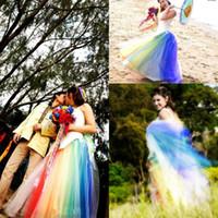 regenbogen brautkleider großhandel-Neue bunte A Line Rainbow Röcke langen Tüll Rainbow Tüll Hochzeit Brautkleider Frauen Rock bodenlangen Cocktail Party Dress