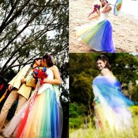 Wholesale Long Rainbow Color Skirts - New Colorful A Line Rainbow Skirts Long Tulle Rainbow Tulle Wedding Bridal Gowns Women Skirt Floor Length Cocktail Party Dress