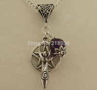 Wholesale Silver Jewelry Pentagram Rhinestone - 10PCS Vintage Silvers Goddess & Pentagram Amethyst Charms Choker Sweaters Chain Statement Necklaces&Pendants Jewelry L629
