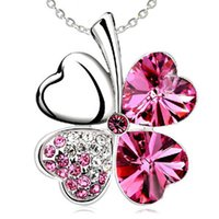 Wholesale planting red clover - 925 sterling Necklaces Four Leaf Clover Pendant Necklace Lovers Gift Cheap Crystal Rhinestone Pendant Necklace Four Leaf Clover Pendant