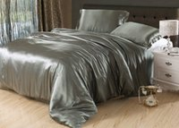 Wholesale Satin Bedding Wholesale - Wholesale-7pcs Silver grey silk bedding set satin sheets Cal king queen full twin size quilt duvet cover fitted bed in a bag bedroom linen