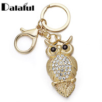 Wholesale owl ring holder - beijia Unique Owl Key Chains Rings Holder Delicate Purse Bag Buckle Pendant For Car Keyrings KeyChains K293