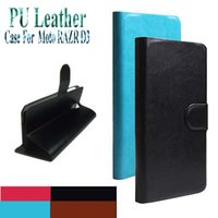 Wholesale Phone Covers For Razr - Hot Sell Original PU Leather Flip Cover Case For Motorola Moto RAZR D3 XT919 XT920 Cell Phones Holster +Touch Pen Gift